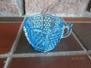 VINTAGE Victorian Pattern BLUE Glass Novelty Hat & Novelty Cup