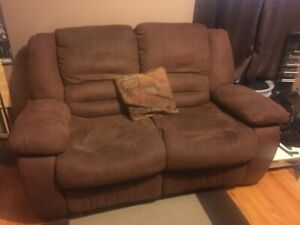Reclining Love Seat, Brown Micro Suede