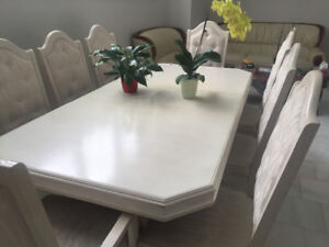Solid Wood Dining Table Chairs And The China Cabinet