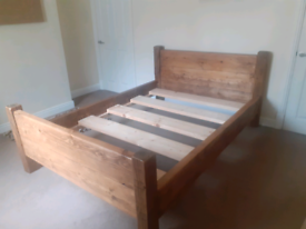 Rustic Chunky Reclaimed Wood Double Bed Frame