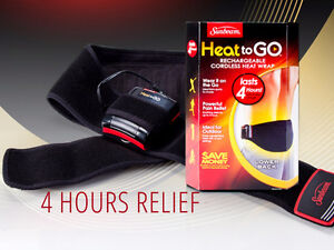 The Sunbeam Heat-to-Go Back Wrap is a rechargeable,BACK