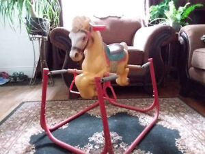 """Vintage. """"Reliable"""" Rocking Horse On Springs. Made In Canada!"""