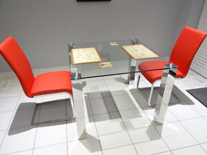 Square Dining Table Glass & Stainless Steel + 2 Chairs | Modern