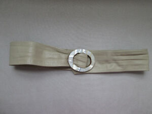 Leather Belt Grey with Mother of Pearl style buckle