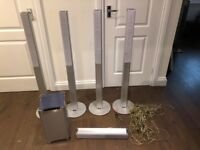 6 Sony speakers, 4 tall, 1 wide and 1 base inc wires