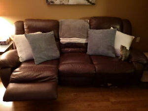 Reclining leather couch set , ottoman and chair, NEED GONE ASAP