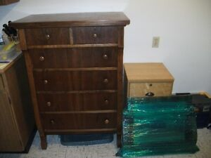 Antique solid pine tallboy dresser with mirror $365.00
