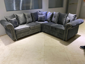 Grey plush velvet corner Sofa New free local delivery
