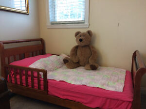 Wooden toddler bed without mattress