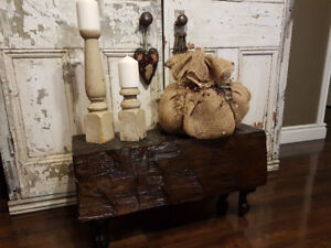 Reclaimed barn beam bench with cast iron claw feet