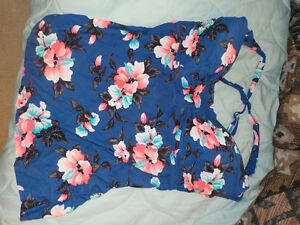 Dark Blue Bathing Suit Top with pink flowers