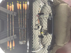Compound bow complete with case , quiver and arrows