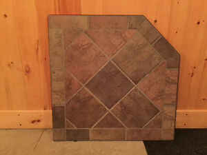 Corner Hearth Pad for propane or wood fireplace