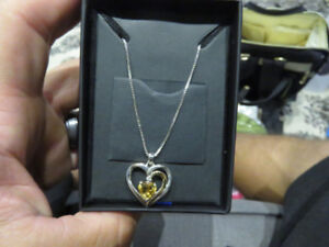 Sterling Silver and 14k Gold Gemstone Heart Pendant Necklace
