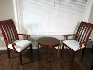 two chairs and one tea table