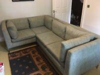 4 seater light blue Italian corner sofa - splits into 2-seater sofa & 2-seater chaise longue - used