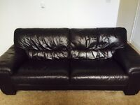 Chocolate brown 3 seater + 2 seater leather sofa