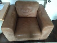John Lewis: Single Brown Leather Chair