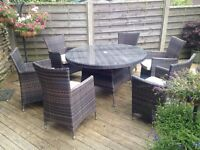 New Rattan Quality Madrid 6 x Seater Round all weather Dining Set.