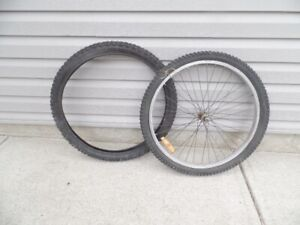 """2 Bike Tires 26"""" x 1.30   + Front  Alloy Rim Tires are Excellent, used for sale  Calgary"""