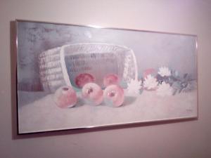 """J.Allen """"Pomme"""" Gold Trim Canvas ORIGINAL Painting. 1988"""