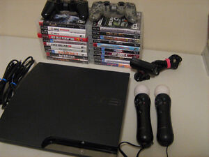 PS3 with 20 games and move camera, controllers