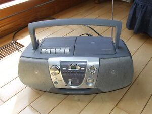 Sony, radio, plays tape and CD, AC and DC