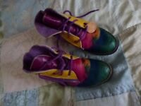 Quirky unworn one off hand made colourful leather ankle boots from Glastonbury