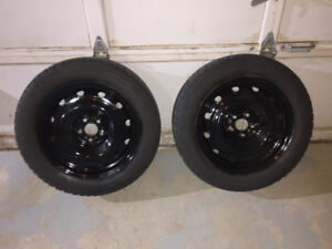 Two 205/55R16 Michelin X-Ice Winter Tires on Steel Rims