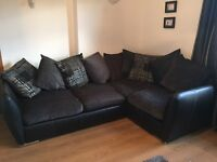 Black leather with grey corner sofa - excellent condition - reduced price