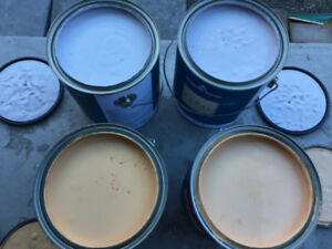 3 one-Gallon cans of White and Orange Paint