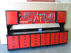 steel work bench, tool box, garage storage, shop tool cabinets,