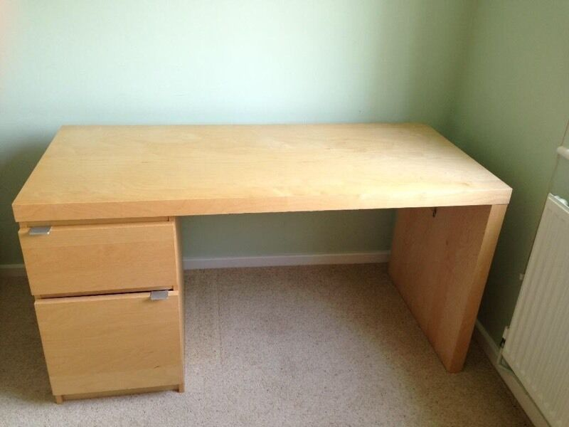 Ikea malm birch desk with drawers in castlereagh for Ikea malm schreibtisch