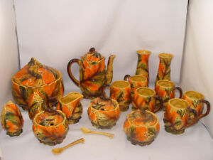 Vintage 1950s 23 Dish Lot Colorful Fall Leaves Cookie Coffee Set
