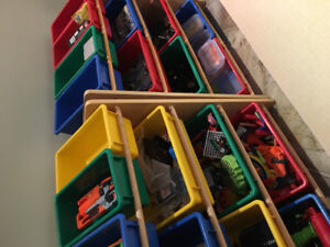 Toy storage shelves with bins