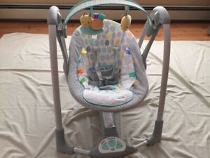 Musical portable baby swing