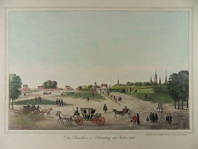 HAMBURG ANSICHT anno 1700 STEINTOR PETER SUHR ALTKOL LITHOGRAPHIE 1840 H22