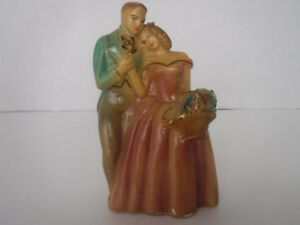 VINTAGE CHALKWARE BRIDE GROOM WEDDING CAKE TOPPER 1950'S