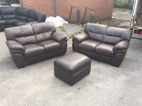 2 plus 2 seater brown leather sofa and ottoman storage stool two cheap second hand