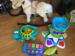 Plush rocking horse with noise and interactive baby toys