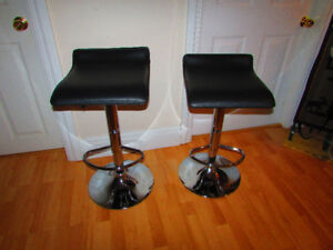 2 Beautiful Adjustable stools with chrome base like new must see