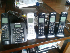Cordless phones with 5 handsets for sale