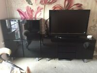 Black gloss tv unit/sideboard, coffee table and storage unit