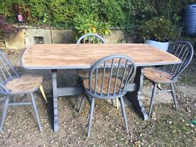 Shabby Chic Rustic Farmhouse Ercol Solid Oak Dark French Grey Table And 4 Chairs