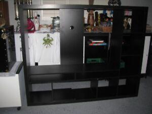 "ENTERTAINMENT UNIT IKEA BLACK TV STAND HOLDS 50"" TV"