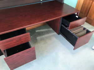Office Desk and Locking overhead Unit