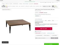London Interiors classic taupe braid leather coffee table