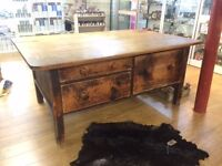 Antique haberdashery cutting table, kitchen island, shop display