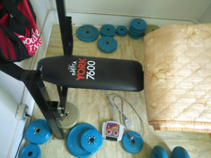 Selling york bench with weights and bars $100