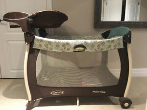 Graco Pack N Play Brown and Turquoise